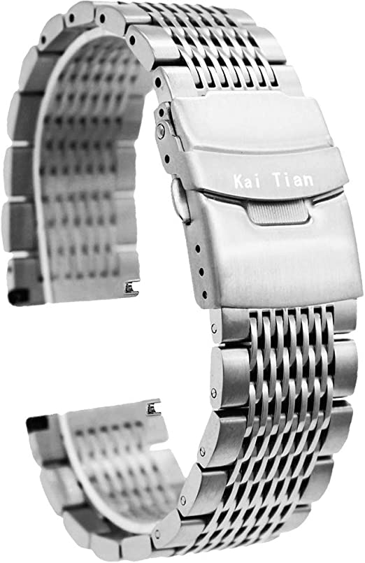 Kai Tian Premium Brushed&Polished Stainless Steel Watch Band Metal Mesh Watch Straps Double Locks Diver Clasp Bracelet 18mm/20mm/22mm/24mm for Men Women,Silver/Black/IP Gold/IP Rose Gold