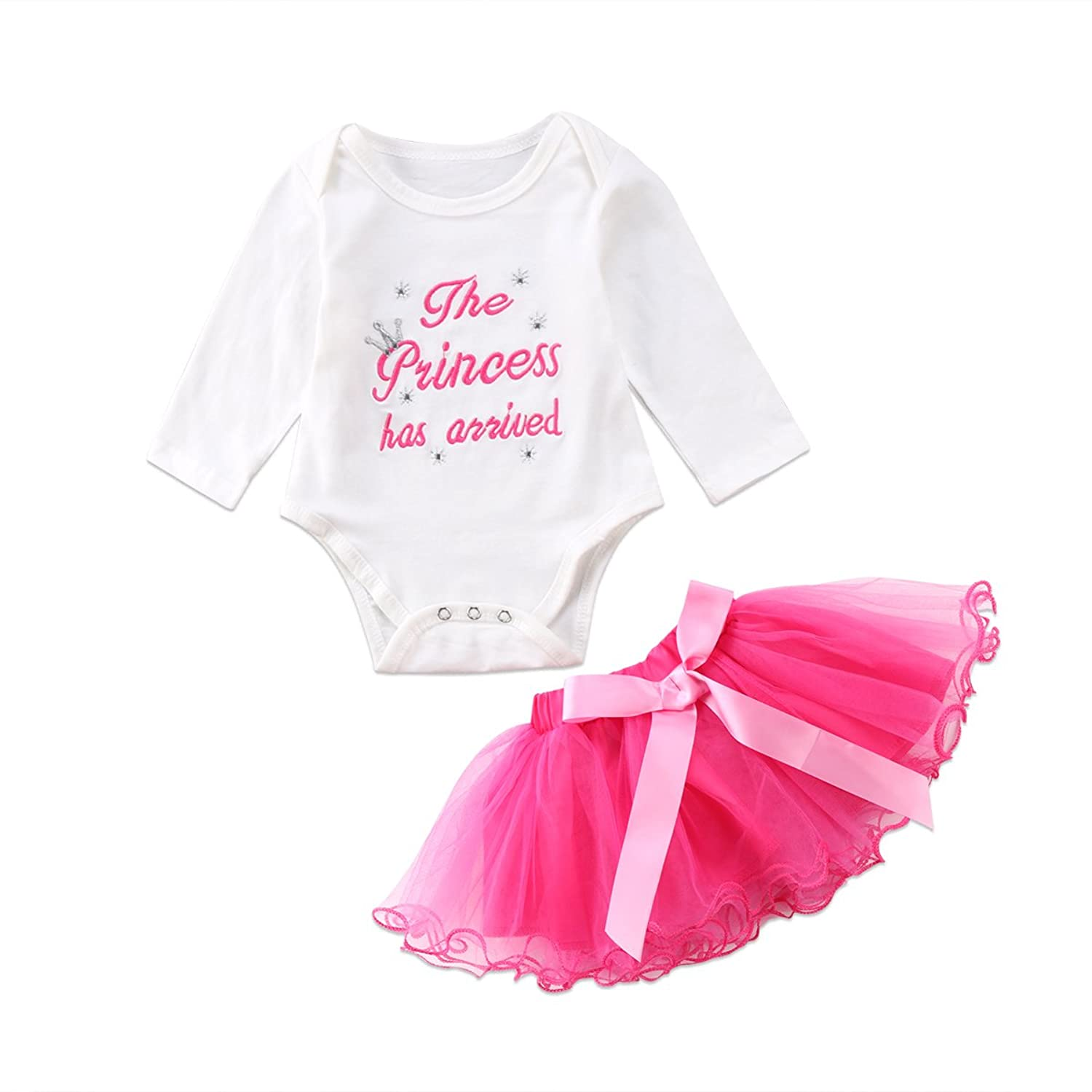162658d3e06   The pricess has arrived   baby girls clothes set. White long sleeve romper  with pink saying on the top. Pink bowknot reffle tutu skirt ...