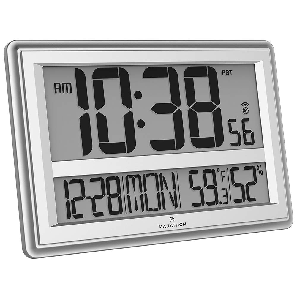 Marathon CL030056SV Jumbo Atomic Wall Clock with Date, Indoor Temperature and Humidity-Batteries Included. (Silver)