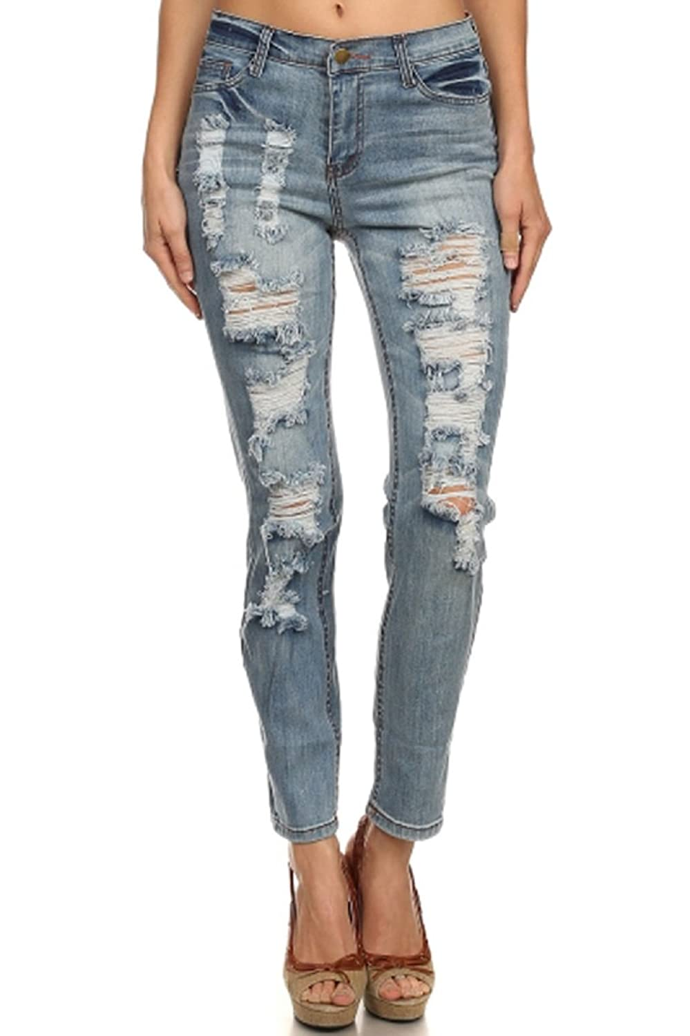 TheLovely Distressed Ripped Boot Cut Destroyed Ice Blue Denim Jean