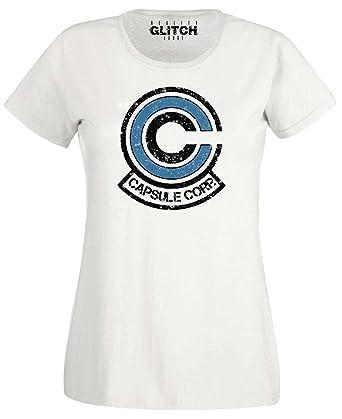 Reality Glitch Damen Capsule Corp T-Shirt (Weiß, X-Large)