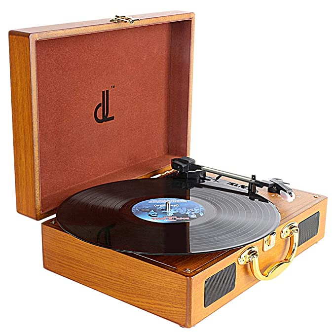 Record Player,DLITIME 3-Speed Vinyl Turntable Built-in 1W Speakers, RCA/PC Encoding/AUX/Headphone Jack/DC Radio Player
