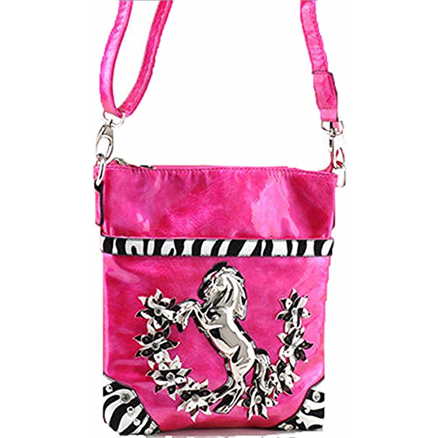 LA Rhinestone Horseshoe Horse Messenger Bag Zebra Flower Purse