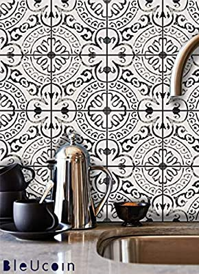 Amalfi Tile Stickers for Kitchen and Bathroom Backsplash, Peel and Stick Vinyl Tile Decal, Removable Stair Riser Stickers (Pack of 44)