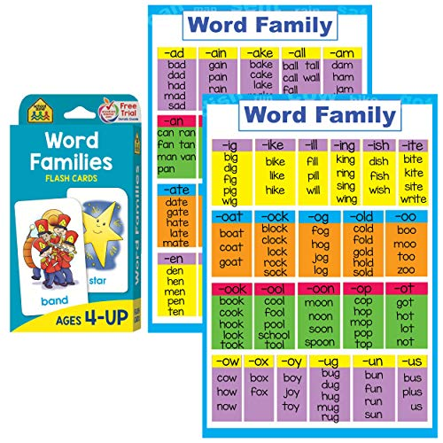 Phonics Beginning Blends - Word Families Poster and Flash Cards Set - Reading Flashcards and Posters to Learn Phonics for Kindergarten and Preschool , Word Family Blend , Rhyming Words , Beginning and Ending Sounds Rhymes