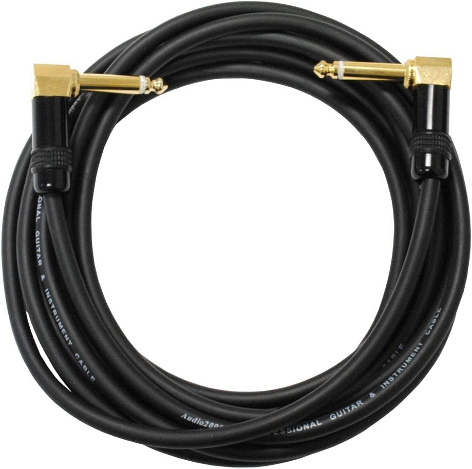 Audio2000s C27012P1 12 Ft 1//4 TS Right Angle to Right Angle Instrument Cable