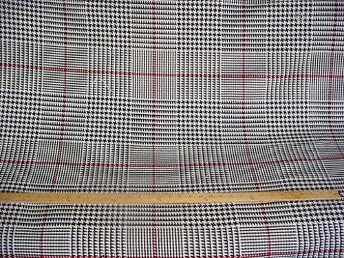 245RT14 - Black / Creme / Red Heavy Cotton / Linen Houndstooth Designer Upholstery Drapery Fabric - By the Yard Houndstooth Upholstery Fabric