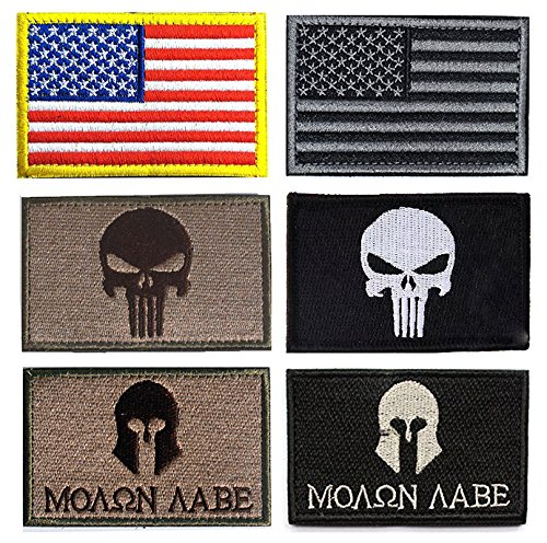 Military Tactical Patch, Antrix 6 Pack American USA Flag Punisher Molon Labe Symbol Embroidered Tactical Morale Tags Military Patches