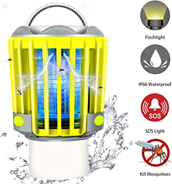 RUNACC Camping Bug Zapper LED Flashlight - Portable IP66 Waterproof Outdoor Tent Light Camp Lamp with 2200mAh Rechargeable Battery, SOS Emergency Warning Lighting