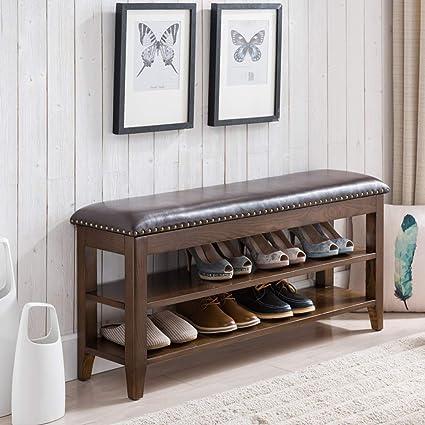 Pleasing Amazon Com Dlt 2 Tier Ash Storage Ottoman Bench Cow Leather Theyellowbook Wood Chair Design Ideas Theyellowbookinfo