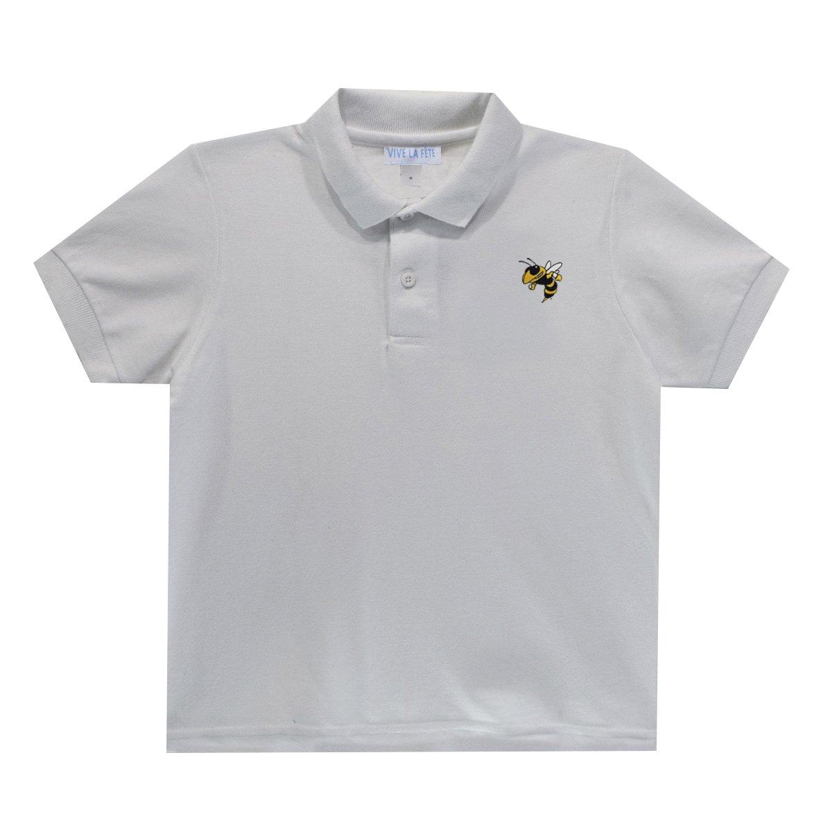 Georgia Tech Yellow Jackets White Polo Box Shirt Short Sleeve by Vive La Fete by Vive La Fete Collegiate