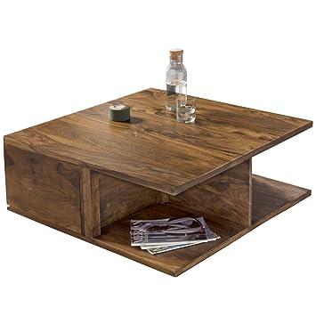 FineBuy Couchtisch BOX Sheesham Massiv Holz 88 X 88 X 40 Cm Schublade  Ablageboden | Design