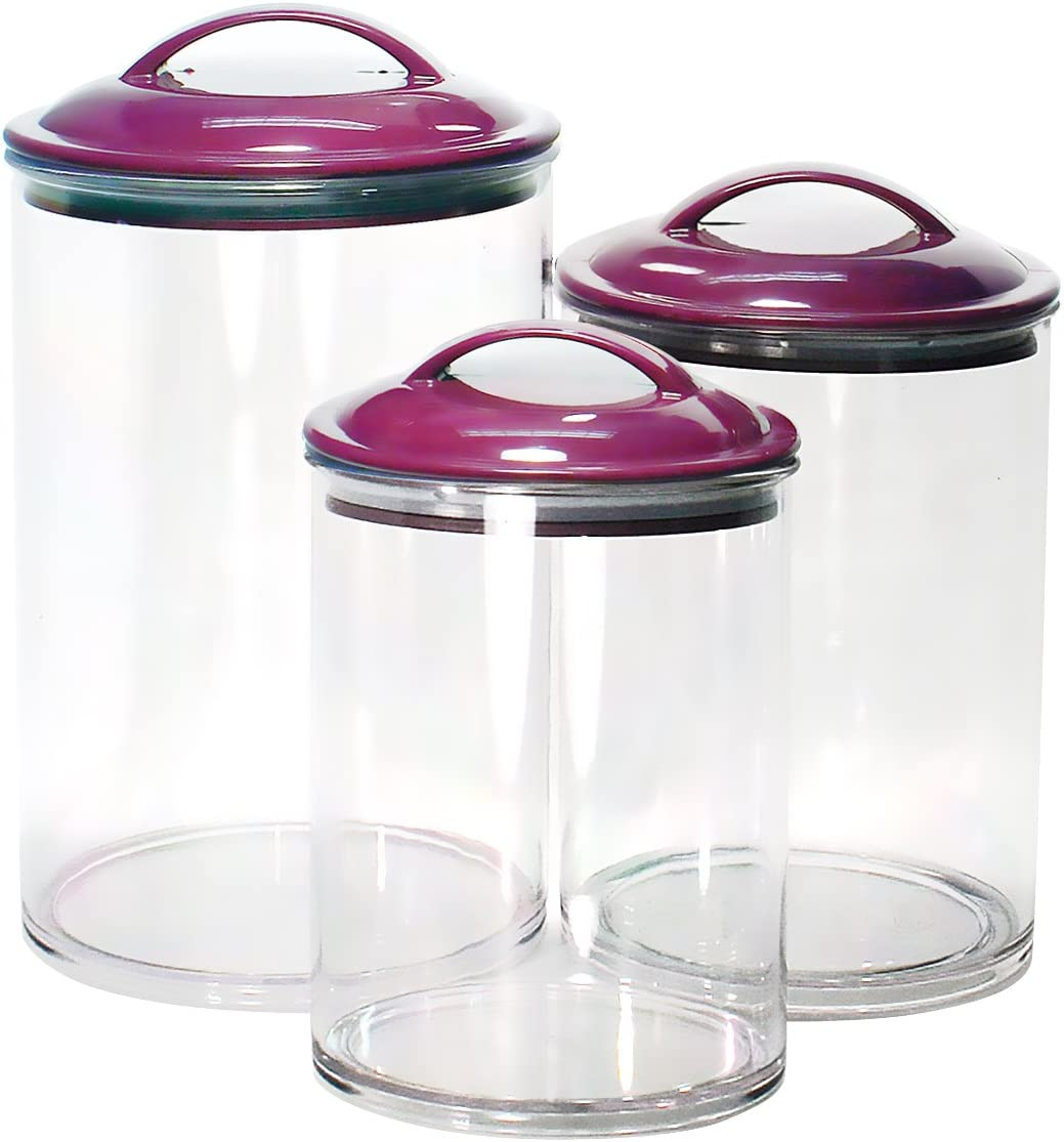 Calypso Basics by Reston Lloyd Acrylic Storage Canisters, Set of 3, Plum