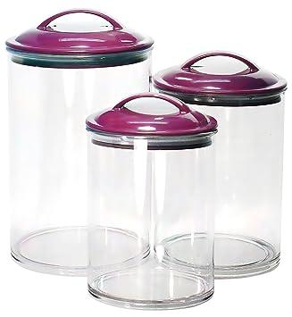 Calypso Basics By Reston Lloyd Acrylic Storage Canisters, Set Of 3, Plum