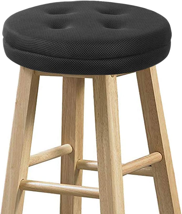 with 4 Ties Black Thick Round Bar Stool Cushion with Elastic Water /& Oil Repellient,Suitable for 11.5-13.5 Wooden//Steel Stools