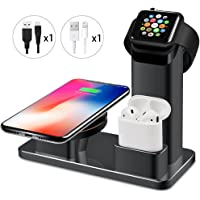 Maxdara 10W Fast Wireless Charger Stand for iPhone, Wireless Charger Stand for Apple Watch Charger&AirPods Charging Station 3 in 1 Charging Docks for Apple Watch/AirPods/iPhone X/8/8 Plus/Galaxy S9/S9Plus (Black)