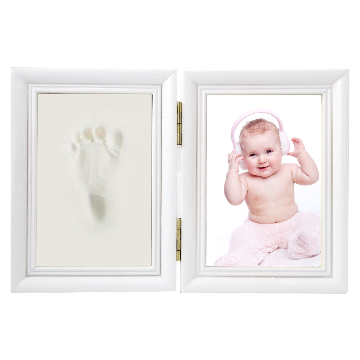 Elsatsang Newborn Baby Handprint and Footprint Photo Frame Kit, for Baby Boy/Girl Handprint or Footprint & White Frame A Good Gift for Christmas(White)