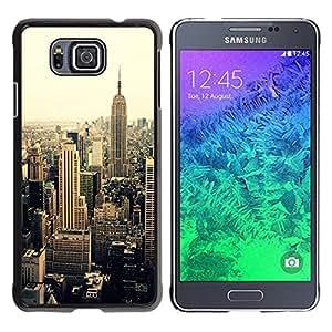 YOYOYO Smartphone Protección Defender Duro Negro Funda Imagen Diseño Carcasa Tapa Case Skin Cover Para Samsung GALAXY ALPHA G850 - nueva york sepia viñeta amarilla