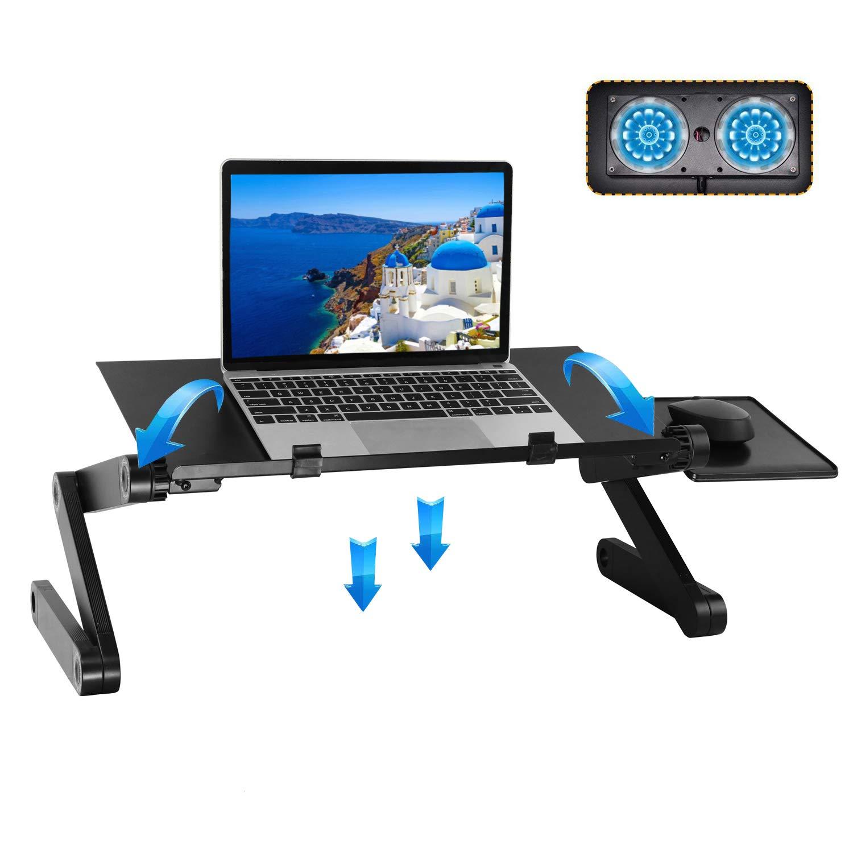 Adjustable Laptop Stand with Cooling Fans Portable Desk Ergonomic Mount for Bed Sofa