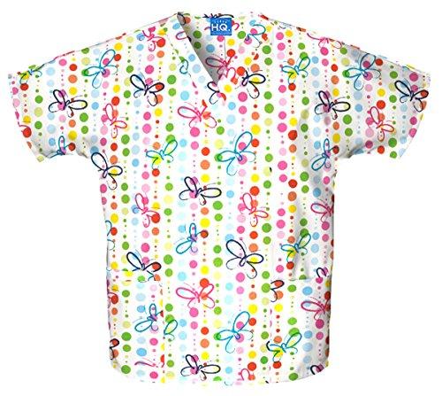 WorkWear 4700 Women's V-Neck 2-Pocket Scrub Top Butterfly Dots X-Large