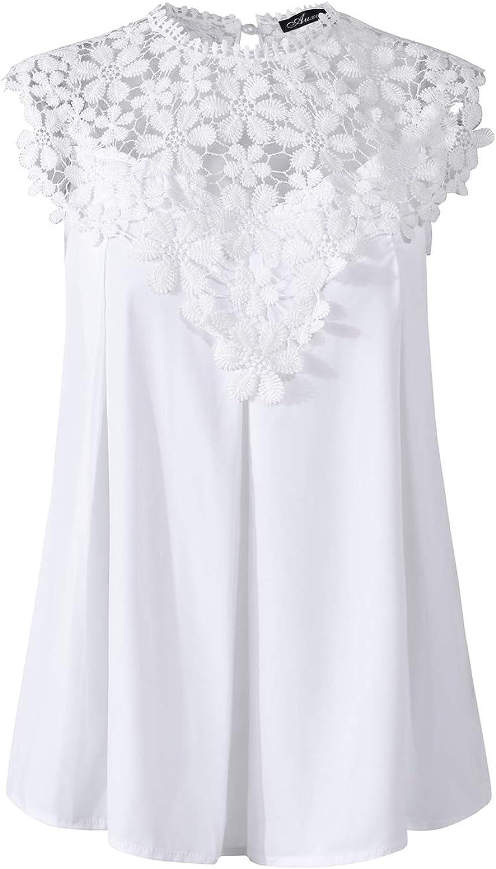 Auxo Damen Chiffon Bluse mit Spitze T-Shirt Rundhals Oberteile Tops Basic Tunika Sommer Shirts