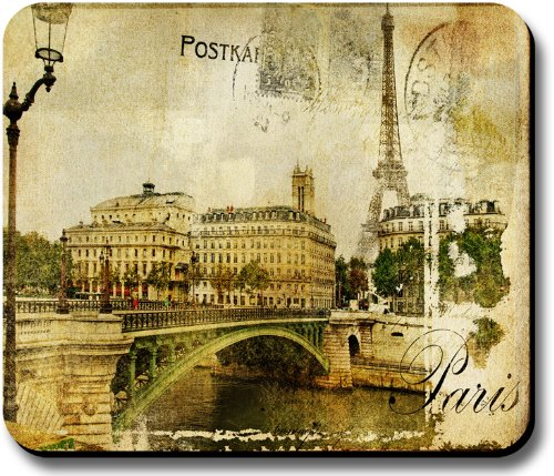 Decorative Mouse Pad Art Print Vintage Postcard Paris Eiffel Tower