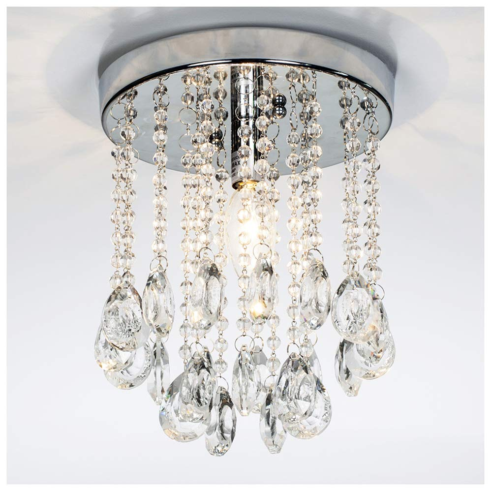 GLANZHAUS Modern 2 Tier Mini Crystal Chandelier Flush Mount Ceiling Light, Ceiling Light Fixture for Hallway Bar Dinning Room Living Room Kids Room