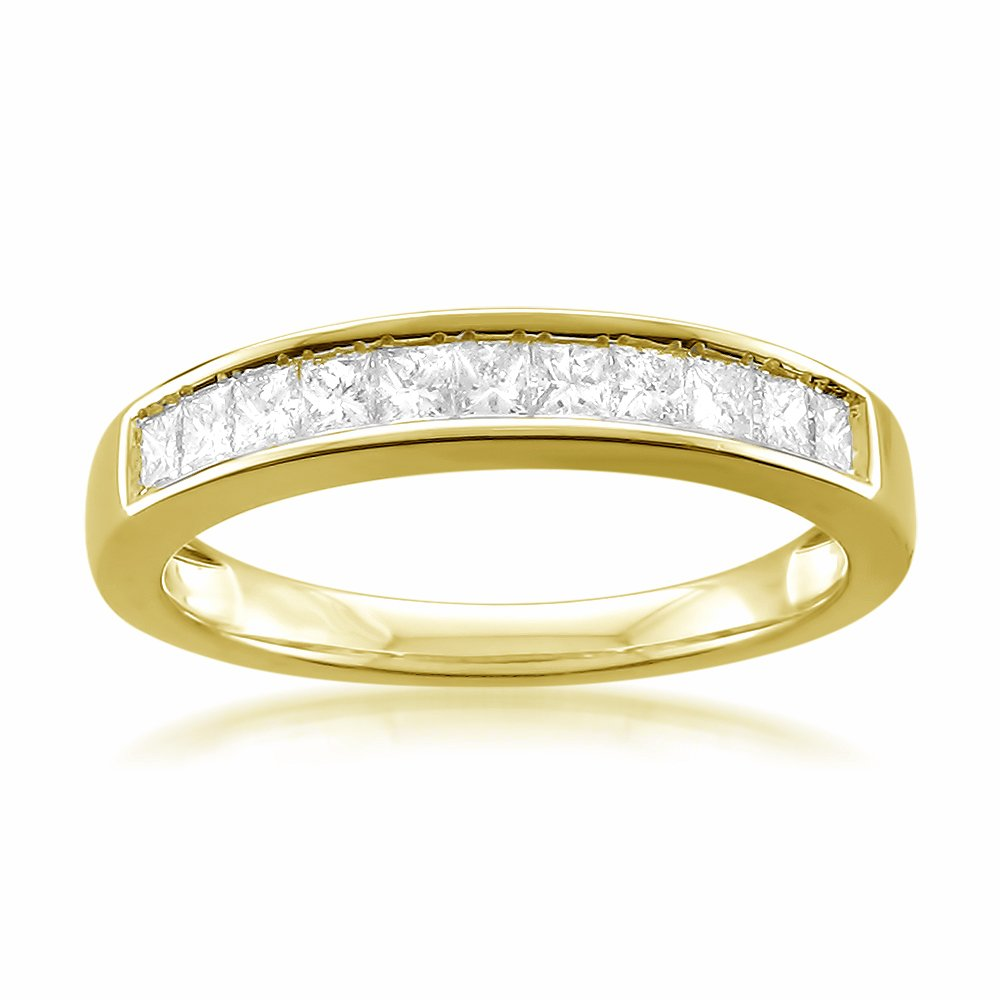 14k Yellow Gold Princess-cut 11-Stone Diamond Bridal Wedding Band Ring (1/2 cttw, J-K, SI1-SI2), Size 4.5