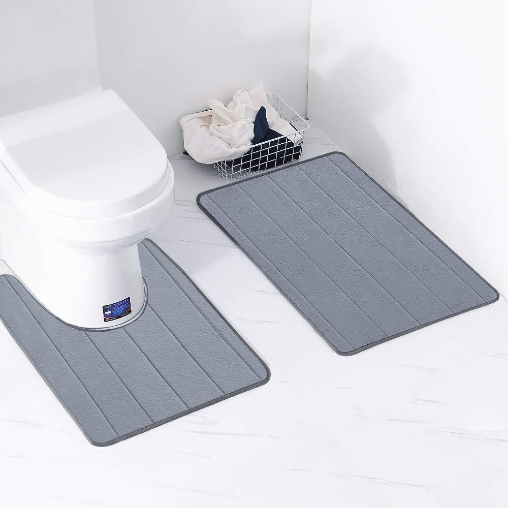 Bathroom Rug Mat, Bath Mat Memory Foam Coral Fleece Non Slip Extra Soft Microfiber Thick Durable Toilet 2 Piece Rug Set Mat (Gray)