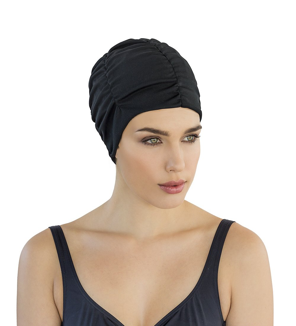 Fashy Ladies Swimming Hat Bathing Cap by Turban Style Black: Amazon.es: Deportes y aire libre