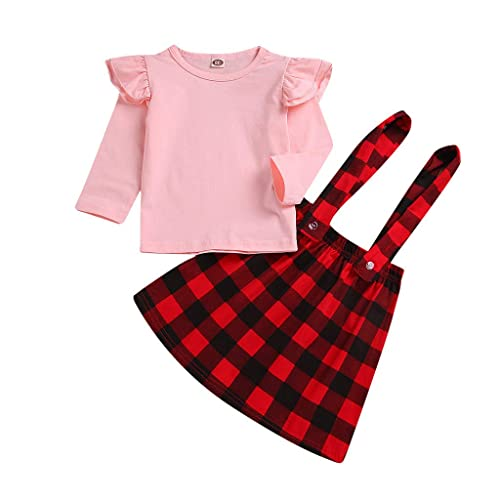 cdf8ecb033ea2 Child Clothes Set, Girls Solid Ruffle Tops + Plaid Strap Skirt ...