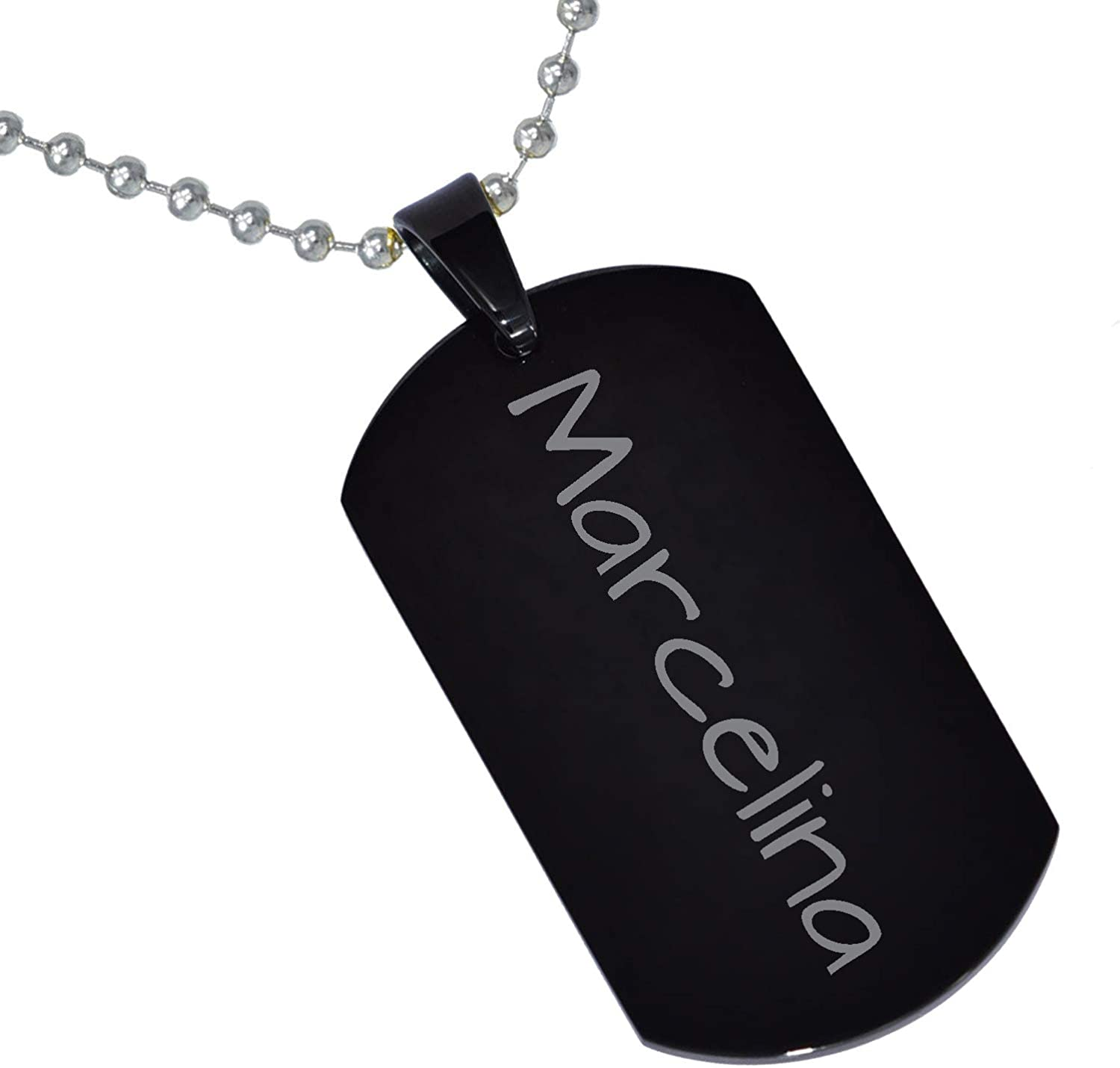 Stainless Steel Silver Gold Black Rose Gold Color Baby Name Marcelina Engraved Personalized Gifts For Son Daughter Boyfriend Girlfriend Initial Customizable Pendant Necklace Dog Tags 24 Ball Chain