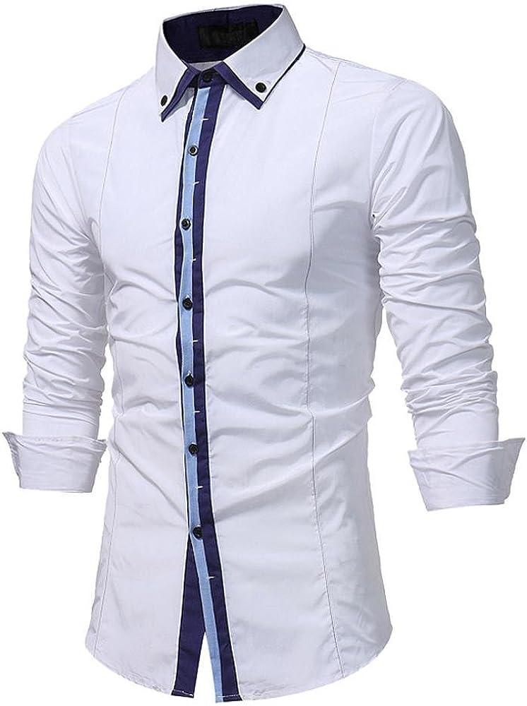 DAYLIN Hombres Otoño Manga Larga Botones Camisas Formales Top ...