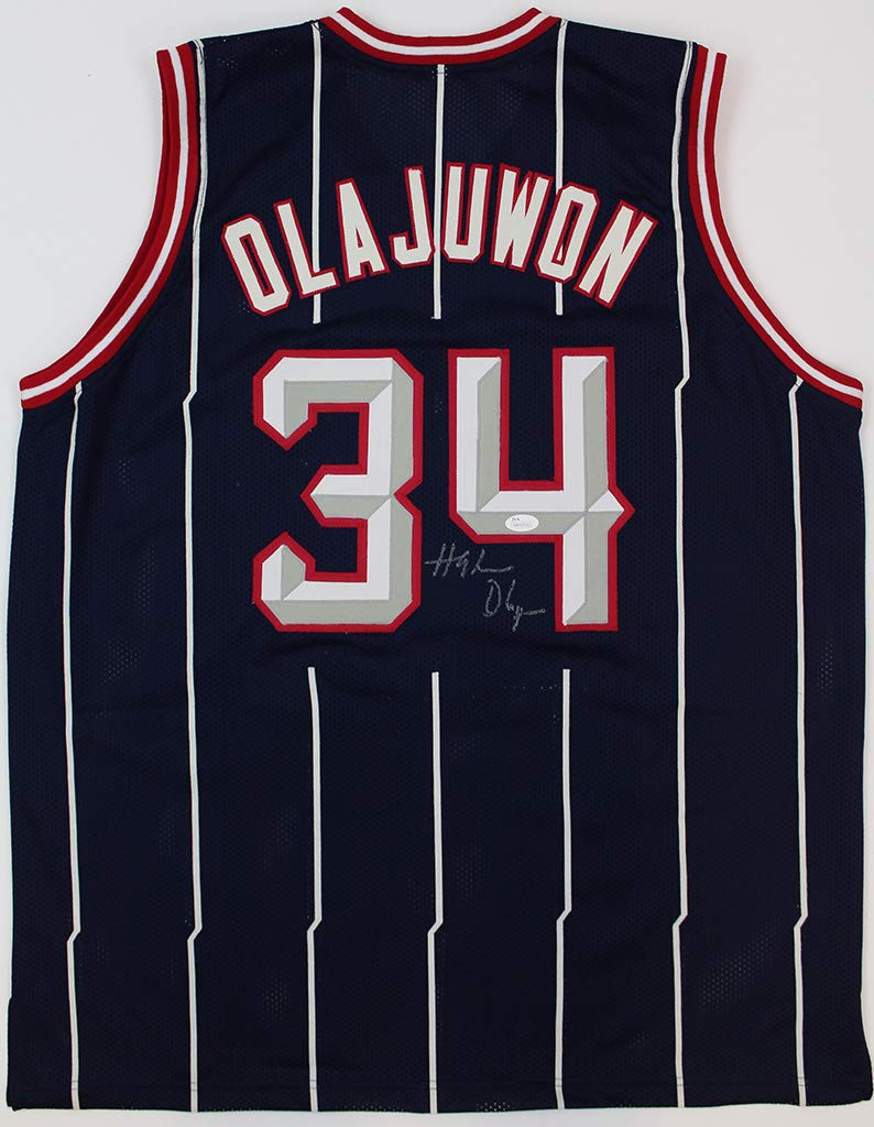 premium selection 9f353 b0559 Hakeem Olajuwon Autographed Blue & White Pinstriped Houston ...