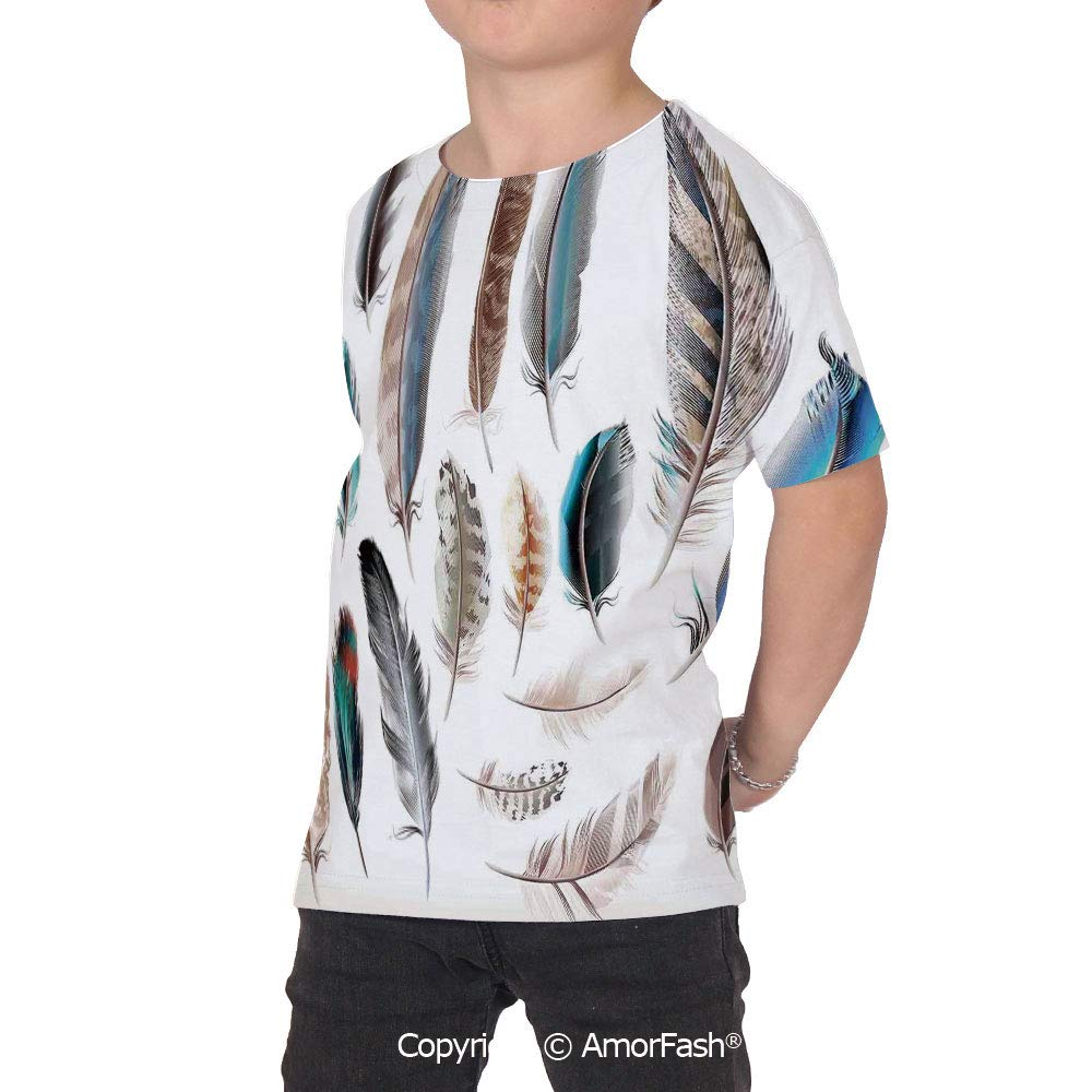 PUTIEN Feather House Decor Crew Neck for Ultimate Comfort T-Shirt,Western