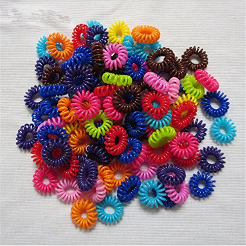 OLIVE US-10PCS Elastic Rubber Hairband Phone Wire Hair Tie Ring Rope Band Ponytail (multicolor)
