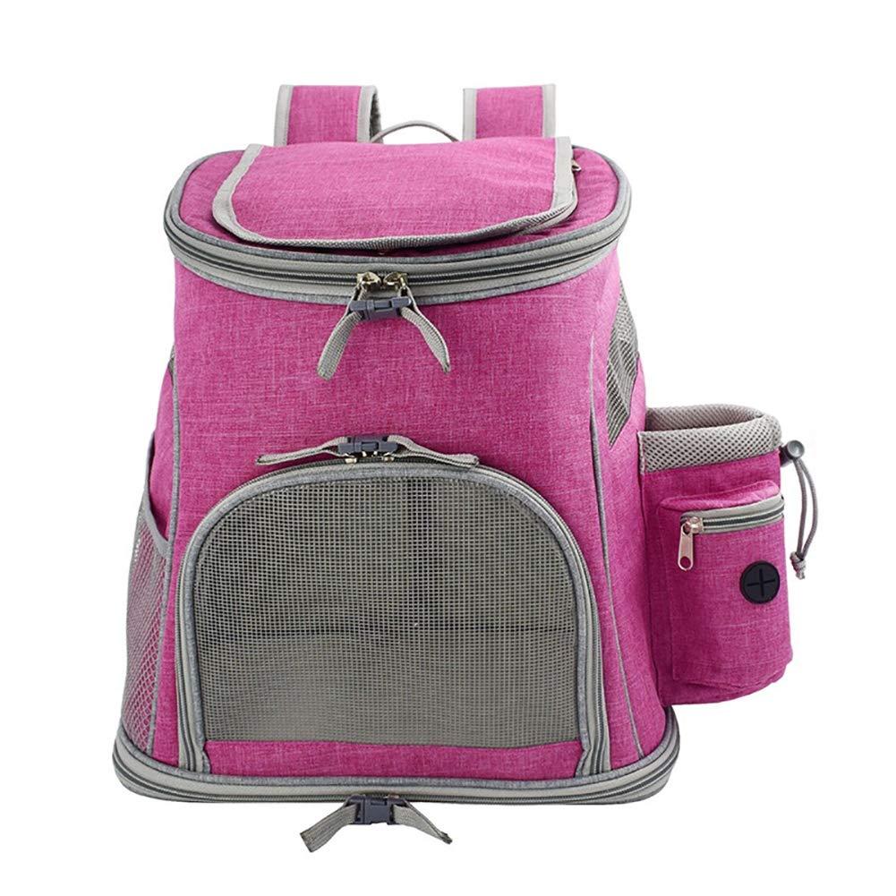 猫と小型犬用の折りたたみ式ペットトラベルキャリアバックパック ピンク