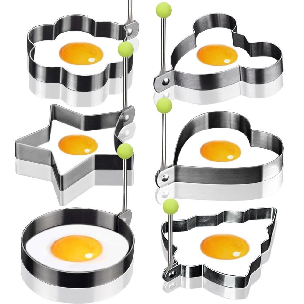 6PCS Stainless Steel Fried Egg Mould Non-Stick Egg Rings Cooking Egg Fried Pancake Omelets Mold Rings Kitchen Tool Pancake Rings Konston