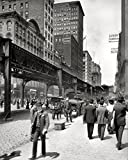 An 8 x 10 Photo Framed Chicago, Illinois, Circa 1907.Wabash Avenue And Elevated L Trains