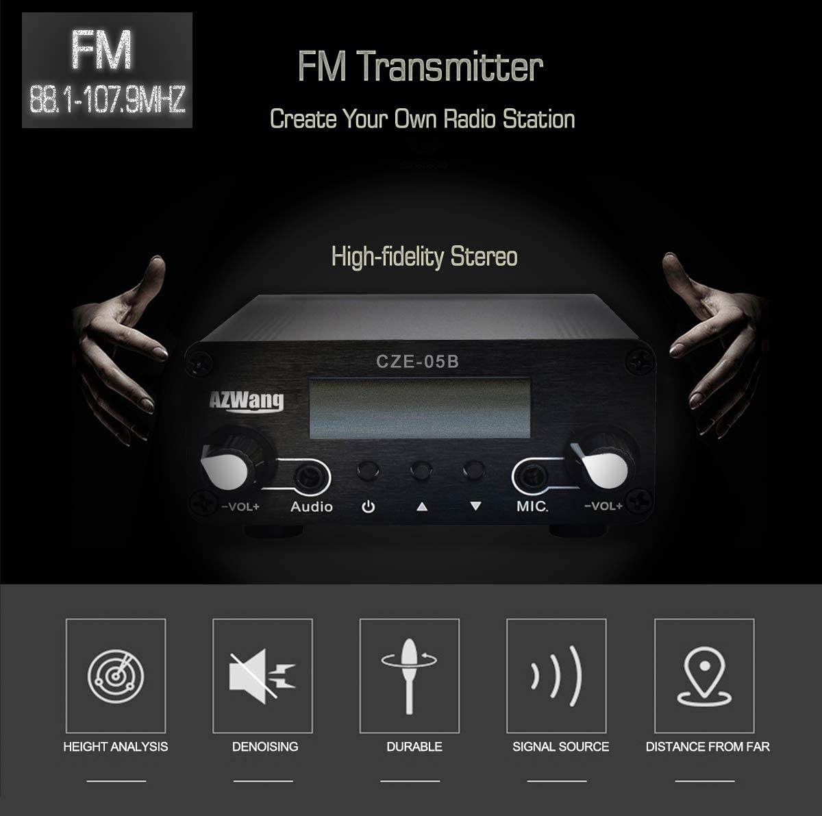 AZWang Long Range FM Transmitter with Antenna,Built-in PLL,3.5mm AUX Input Mini Radio Station System for Drive-in Church Supermarket School Car Theater Conference Factory Personal Radio