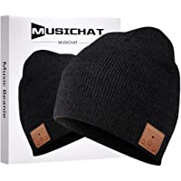 Bluetooth Beanie, MUSICBEE Bluetooth V5.0 Wireless Knit Winter Hats Cap with Detachable Built-in Mic and HD Stereo…