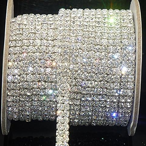 Awakingdemi Crystal Rhinestone Close Chain, Fashion SS16 Clear Rhinestone 1 Yard 2-Row Close Chain Trims Silver for Weeding DIY - Swarovski Crystal Wedding Cake
