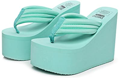 0df6b79b86fb6e QZUnique Women s High Heel Platform Wedge Flip-Flops Sandals Fashion Slipper  Summer Thong Blue US