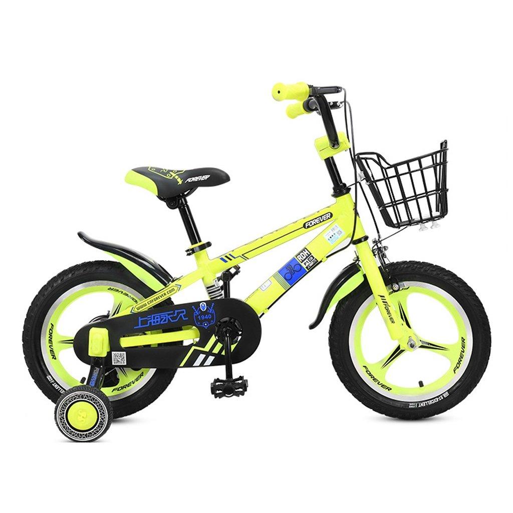 子供用自転車、4-8歳の男の子、女の子用自転車、高さ16インチ、105-135cm (Color : Yellow) B07D2G98FG