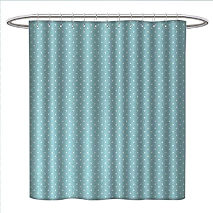 Anniutwo Light Blue Shower Curtain Collection By Classic Polka Dots Vintage Design Stylish Cottage Country Artwork