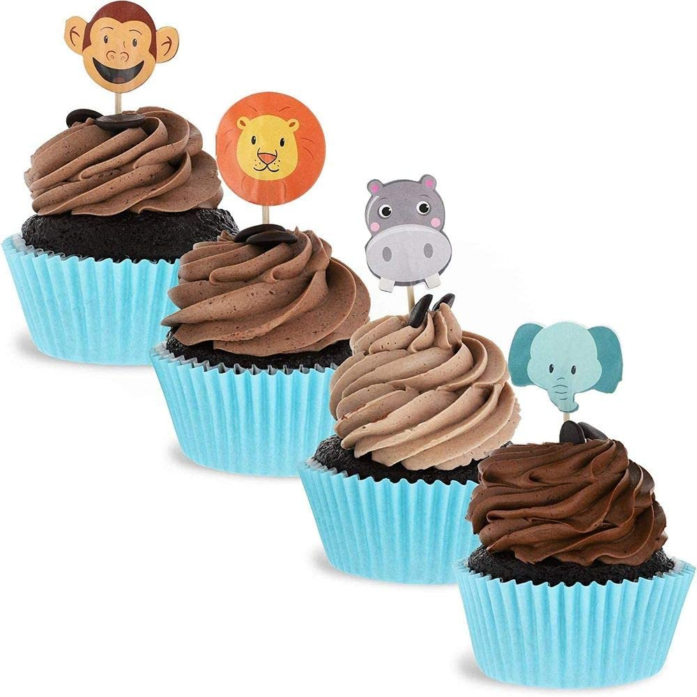 Juvale 200-Pack Jungle Safari Zoo Animal Cupcake Decorations Party Topper Picks, 1 x 3 Inches