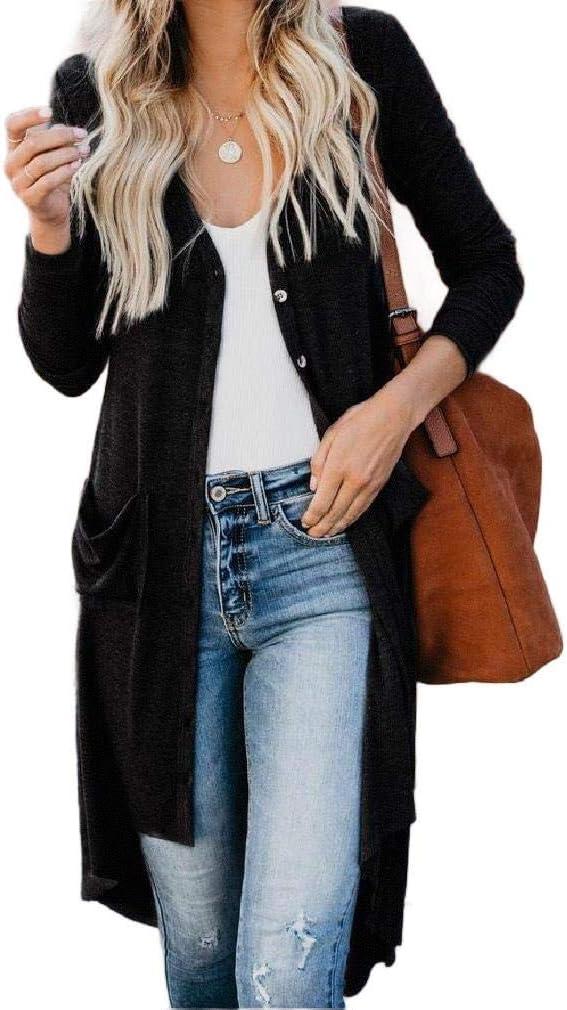 DressU Women Longline Basic Cotton Solid-Colored Cardigan Sweater Coat Comfortable