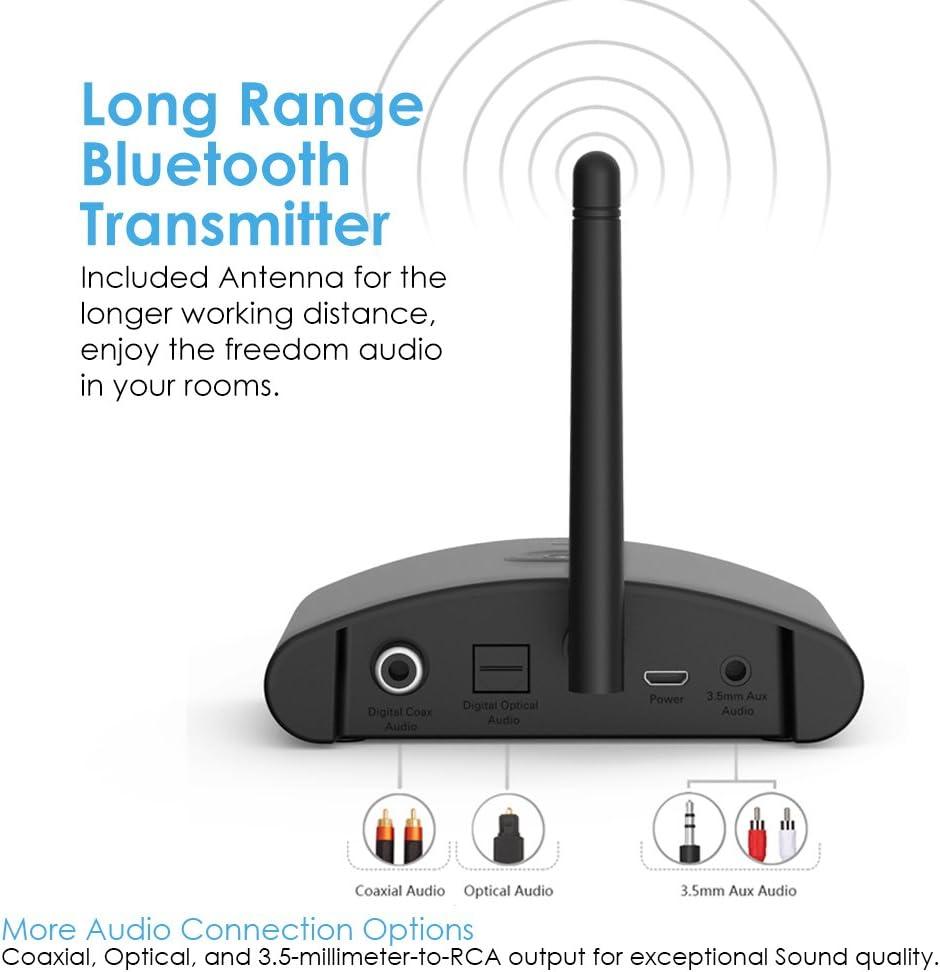 Besign Trasmettitore Bluetooth Coassiale e Ottico Supporta Audio Jack da 3.5mm Collegamento con Cuffie//Altoparlanti Bluetooth BE-TX Lunga Portata Adattatore Audio Senza Fili per TV
