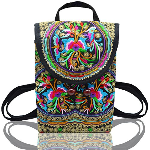 MAYMII Women Handmade Flower Embroidered Bag Canvas National Trend Embroidery Ethnic Backpack Travel Bags Schoolbags Mochila