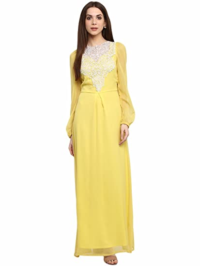 59b9525d7a La Zoire Women s Chiffon Maxi Dress (Yellow LZA561-437-YL)  Amazon ...